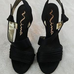 Nina sz 8 black sling back open toe heels